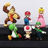 Klycbds 6 Piezas Super Mario Bros Figuras Luigi Sapo Princesa Peach Yoshi Donkey Kong Modelo De Hongo Juguetes Chico Regalos