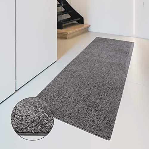 Carpet Studio Flauschig-weiche Haptik Teppichläufer 67x180cm, Wohnzimmer/Schlafzimmer/Küche/Flur, praktische Reinigung, per Hand fertiggestellt, Platina