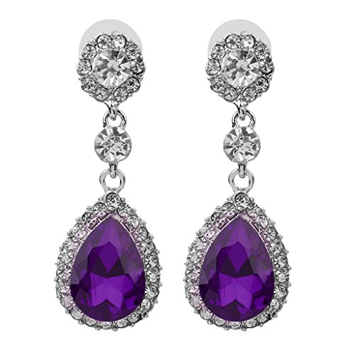 Colcolo Pendientes de Cristal de Diamantes de Imitación Colgantes de Lágrima de Mujer de Moda para Colores de - Púrpura