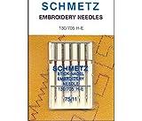 Schmetz Lot de 5 aiguilles à broder pour machine à coudre 130/705 H-E 75/11 silver