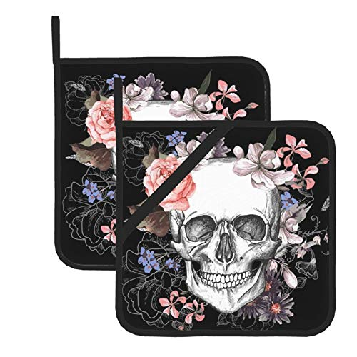 Pot Holders for Kitchen Heat Resistant Pink Floral Sugar Skull Flower Oven Hot Pads Potholders for Cooking Baking Grilling Microwave Insulation Dish Drying Mat
