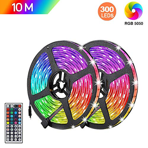 Tiras LED RGB 10m, AUELEK 2x5m Tiras LED 12V 300 LEDs 5050 Tira LED con Impermeable IP65/ DIY Color Modos/Cortable/Control...