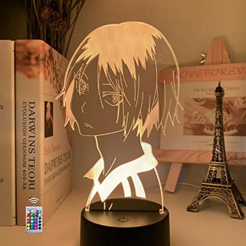 Anime en 3D'¡Haikyuu!' Lámpara, luz Nocturna Visual óptica LED de Escritorio de Mesa, luces Táctiles de Cabecera Creativas, con Control Remoto y Base, Regalo para los Fans de los Niños