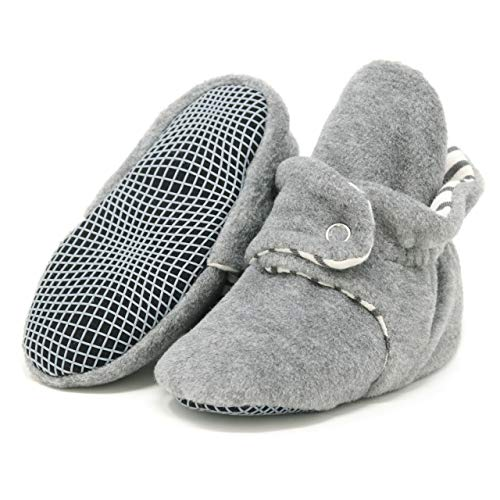 Ella Bonna Mini Fleece Booties with Non Skid Bottom | Flexible | For Baby Boys Girls Toddlers (18 Months, Grey)