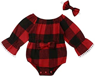 Newborn Baby Girl Christmas Outfit Plaid Ruffle Romper Bodysuit Clothes with Headband