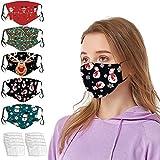 Alwayswin Mundschutz Weihnachtsmaske 3D Weihnachten Waschbar Maske Baumwolle Stoff Mund-Nasenschutz mit Filter Atmungsaktiv Stoffmaske Alltagsmaske Weihnachtsmotiv Multifunktionstuch Halstuch