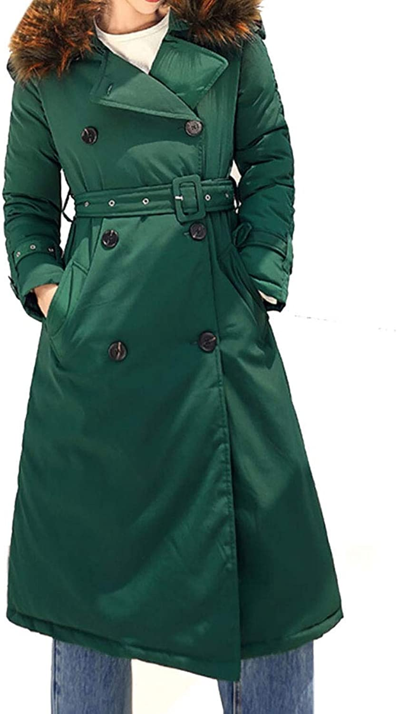 Gocgt Women Long Coat Padded Packable Button Up Parkas Faux Fur Outwears