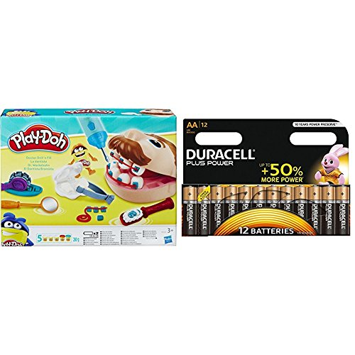 Play-Doh Doctor Drill-n-Fill Set with Duracell Plus Power Type AA Alkaline Battery (12 Pack)
