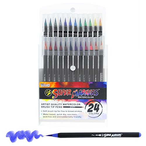 24 Color Super Markers Watercolor Soft Flexible Brush Tip Pens Set - Fine & Broad Lines, Vibrant Colors - Children & Adult Coloring Books, Manga, Comic, Calligraphy, Art