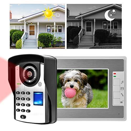 Ningún desbloqueo video de la huella dactilar de la contraseña del teléfono de la puerta del timbre del intercomunicador de la radiación, para el hogar(European standard (110-240V), Transl)