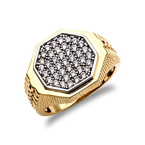 Jewelco London Men's Solid 9ct Yellow Gold White Round Brilliant Cubic Zirconia Pave Octagon Cluster Signet Ring, Size T