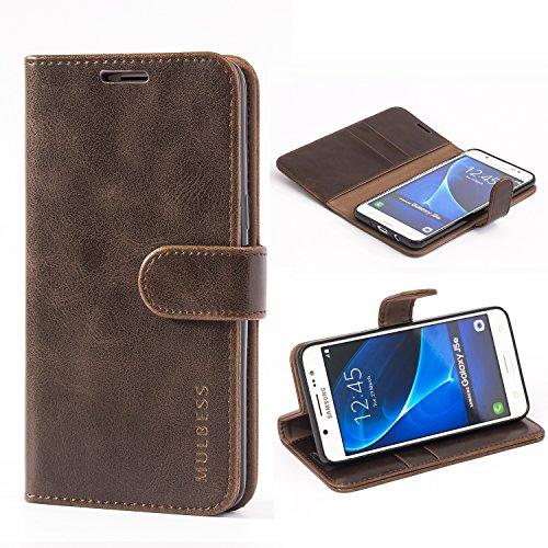 Mulbess Handyhülle für Samsung Galaxy J5 2016 Hülle, Leder Flip Case Schutzhülle für Samsung Galaxy J5 2016 Duos Tasche, Vintage Braun