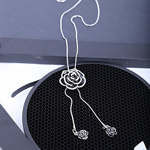 Ketting Rose lange trui ketting druppellegering hangers items sieraden, zwart