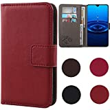 Dingshengk Red Premium Business Flip Genuine Real Leather