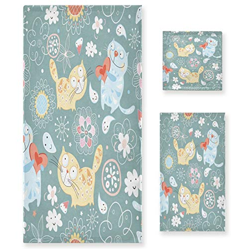 xigua Juego de toallas de 3 piezas, lindas flores de corazón de gato, 1 toalla de baño, 1 toalla de cara, 1 toalla de mano, para gimnasio, spa, baño, playa de arena
