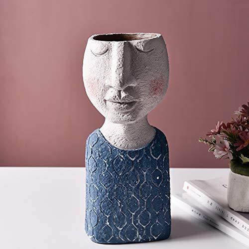 TOPYL Modern Ornamente Statue Kopf Pflanzer,Harz Blumentopf Vase,Gesicht Vase Startseite Garten Dekorative Familie Kunst Skulpturen Für Indoor Outdoor Kunsthaus - Mann