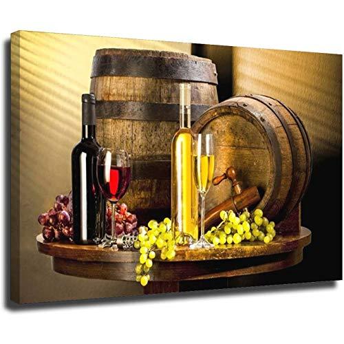 Varios vinos con uva arte de la pared de la lona de la impresión del vino de la lona de la lona de la pared Cuadros decorativos para la cocina del marco de la sala del estilo1 40 x 60 cm