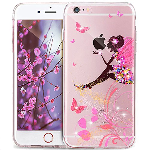 Cover iPhone 6S,Cover iPhone 6,Mandala del fiore Bling Diamanti Glitter strass Trasparente Ultra Sottile Silicone Gel Cover Custodia Bumper Case Custodia Cover per iPhone 6S/6,ate dei fiori farfalla
