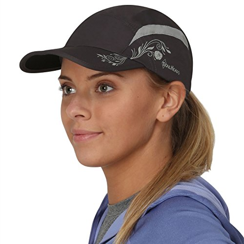 TrailHeads Folding Bill Running Hat for Women | Summer Cap with UV Protection - Charcoal/Grey Print