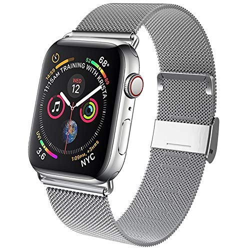 GBPOOT Compatible for Apple Watch Band 38mm 40mm 42mm 44mm, Wristband Loop Replacement Band for Iwatch Series 4,Series 3,Series 2,Series 1,Silver,42mm/44mm