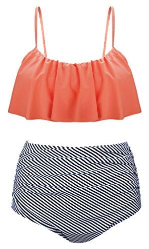 Aixy Damen Vintage Niedlich Ruffles Strap Bademode Crop Top Flounce Hohe Taille Bikini Set Badeanzug, , Orange - EU40-42=Tag Size 2XL