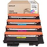 Ziprint compatibles HP 117A Cartuchos de Tóner W2070A W2071A W2073A W2072A con HP Color Laser 150a 150nw MFP 178nw 179fnw (1 negro, 1 cian, 1 magenta, 1 amarillo)
