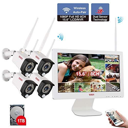 Externe WLAN 1080P bewakingssysteem 15 inch monitor 8 cm + 4 cam + 1 TB