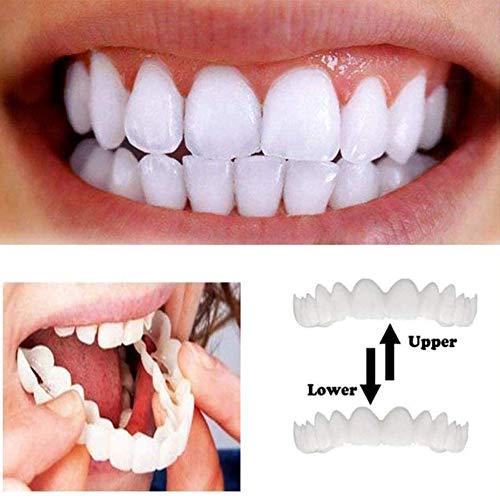 ZHHB Dientes Cosméticos, Snap on Instant Smile Sonrisa, Teeth Confortable Chapa Reutilizable para Adultos Snap on Smile Blanqueamiento De La Dentadura,1pair