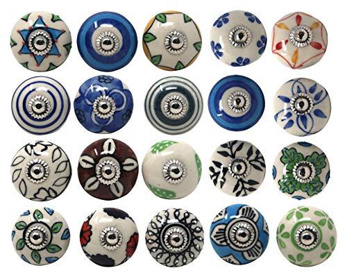 Pomelli in ceramica multicolore per comò cassetti bagno armadio cucina armadio fatto a mano in India set di 20