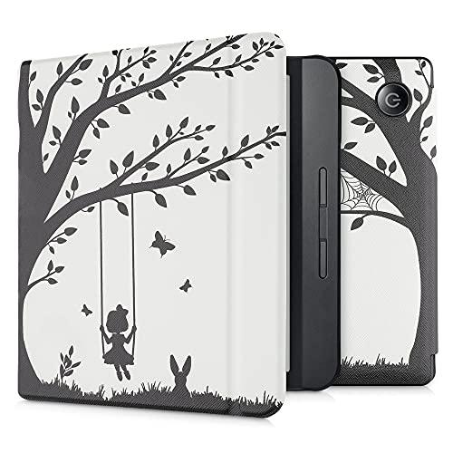 kwmobile Case Compatible with Kobo Libra H2O - Case e-Reader Cover - Girl Tree Swing Black/White
