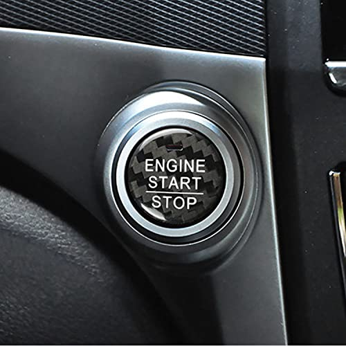M.JVisun Fibra de Carbono Motor Arranque Paro Botón Pegatinas para Honda Accord Civic CR-V Crider - Negro