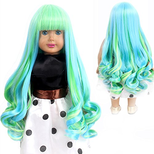 of msd panties leading brands only H&Bwig Doll Wigs for 18 inch Dolls Long Curl Wave Wig Middle Part with a Cute Clip Wig Girl Gift DIY Hairstyle by Yourself (Green Blonde)