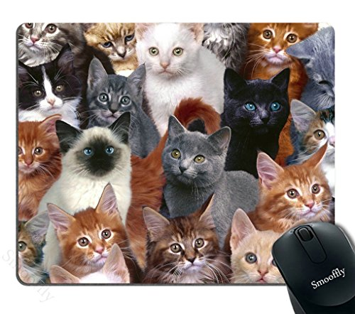 Smooffly Gaming Mouse Pad Custom Design,Cats Galore Mouse Pad White Black Brown Cat Personality Desings Gaming Mouse Pad