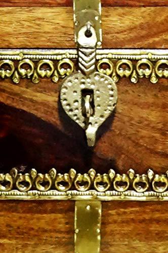 Orientalische Truhe Kiste aus Holz Kanjana Braun | Vintage Sitzbank mit Aufbewahrung für den Flur | Aufbewahrungsbox mit Deckel im Bad | Betttruhe als Kissenbox oder Deko im Schlafzimmer - 3
