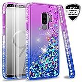 LeYi Hülle Galaxy S9 Plus Glitzer Handyhülle mit Full Cover 3D PET Schutzfolie(2 Stück),Diamond Rhinestone Bumper Schutzhülle für Case Samsung Galaxy S9 Plus Handy Hüllen ZX Gradient Purple Blue