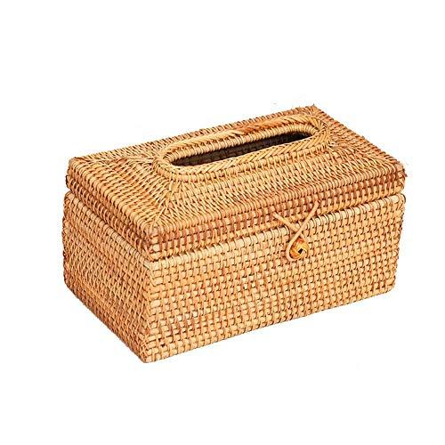 Caja de Tejido Cuadro de pañuelos Cubierta de la Caja de Tejido Simple Diseño de ratán Toalla Toalla Tapa Dispensador Conjunto para la Sala de Estar Decoración del hogar Cajas Decorativas Cubierta de