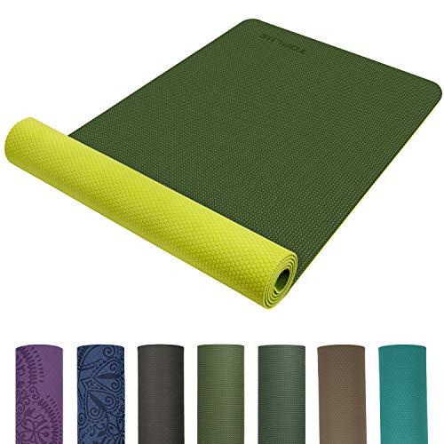 TOPLUS Preumium Yogamatte aus hochwertigen TPE, rutschfest Yogamatte Gymnastikmatte Übungsmatte Sportmatte für Yoga, Pilates,Fitness usw.-Grün&Gelb