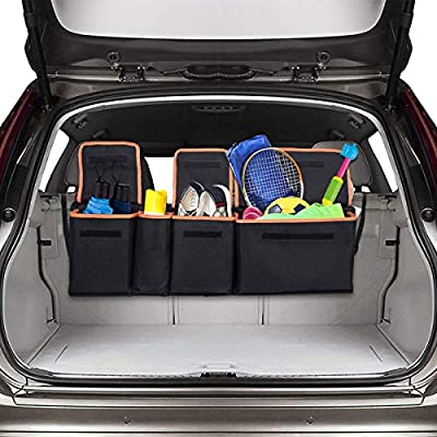 Siivton Backseat Trunk Organizer, Space Saving Car Trunk Organizer with Bottom Plate and Lid Trunk Storage for Kids, Travel, Heavy Duty 4 Pocket Auto Interior Cargo Accessories SUV & Car Organizer by Sivton