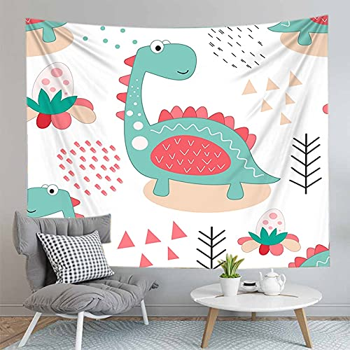 PPOU Decoración de Pared de Dinosaurio de Dibujos Animados Tapiz Hippie decoración de cabecera del hogar sofá Manta Tapiz Tela de Fondo A6 73x95cm