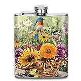 Presock-Flaschen für Alkohol, Blumenkorb und Vögel Geschenke Top Shelf Flasks Edelstahlflasche 7 OZ für Männer Frauen