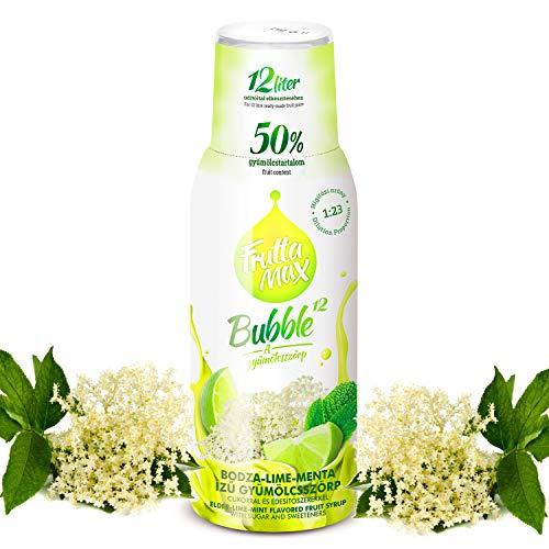 Frutta Max Getränkesirup Frucht-sirup Konzentrat   Sorten zur Wahl   weniger Zucker   mit 50% Fruchtanteil   für Soda Maschine geeignet 500ml (Holunderblüte-Limette-Minze)