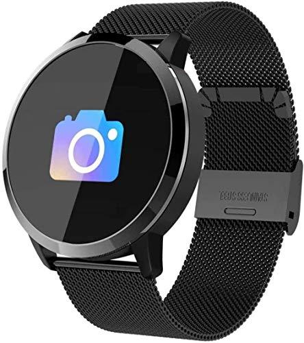 JSL Reloj inteligente de pantalla redonda con sensor de frecuencia cardíaca, actividad física y monitor de frecuencia cardíaca, para larga duración en standby-Blacksteel-negro