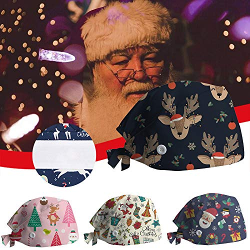 4 Pieces Gourd-Shaped Working Caps with Buttons Christmas Nurse Cap with Sweatband Adjustable Tie Back Hats Cotton Printed Bouffant Hats Hair Cover for Women Men Beauty Worker