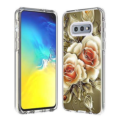 Coque Samsung Galaxy S10e, Silicone Bumper, Transparent PC + TPU Hybride Boîtier de Protection avec Carte de Mode (Rose)