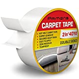 Double Sided Carpet Tape - Rug Grippers Tape for Area Rugs and Hardwood Floors - Carpet Binding Tape Removable, Residue Free, Strong Adhesive and Heavy Duty Stickers Tape, Hardwood Safe 2inch/40yards