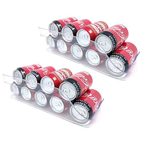 QILZO® Juego de 2 Cajas de almacenaje para Nevera y congelador Organizador de latas para frigorífico 35,5x15x10cm Organizador nevera transparente Envases de plástico para Alimentos Fabricado en España