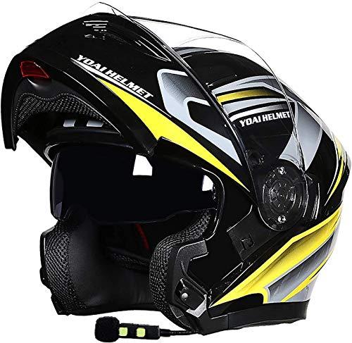 Egrus Motocicleta tapizable Casco Bluetooth Visa Anti-Aplicación Visa Doble Face Casco Casco Casco Auriculares Altavoz, Handshree, Ruido ECE APARTETY J, XL = 59-60 CM (Color : B, Size : XXL(61-63cm))