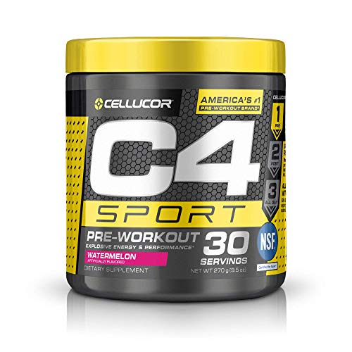C4 Sport Pre Workout Powder Watermelon - NSF Certified for Sport and Preworkout Energy Supplement for Men & Women - 135mg Caffeine and Creatine Monohydrate - 30 Servings