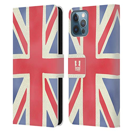 Head Case Designs Union Jack London Best Leather Book Wallet Case Cover and Matching Wallpaper Compatible with Apple iPhone 12 / iPhone 12 Pro