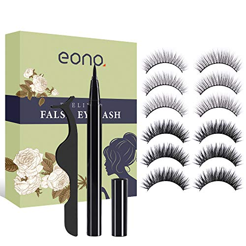 Eono by Amazon - Magic Eyeliner und Falsche Wimpern, kein Magnetische Wimpern Eyeliner Selbstklebender Eyeliner Wasserdicht und Langlebig